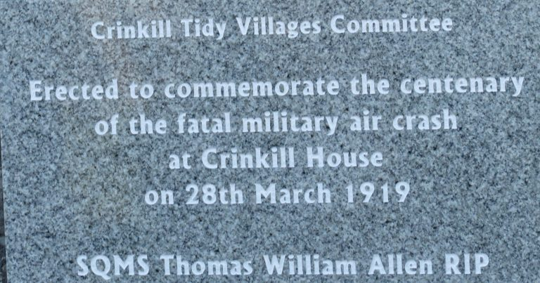 Centenary Commemoration of Military Air Crash at Crinkill, March 2019